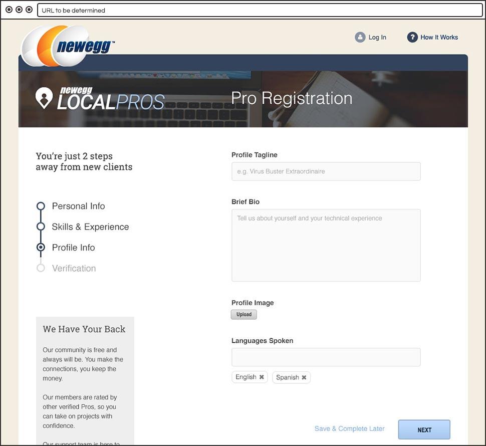 Newegg Local Pros Registration