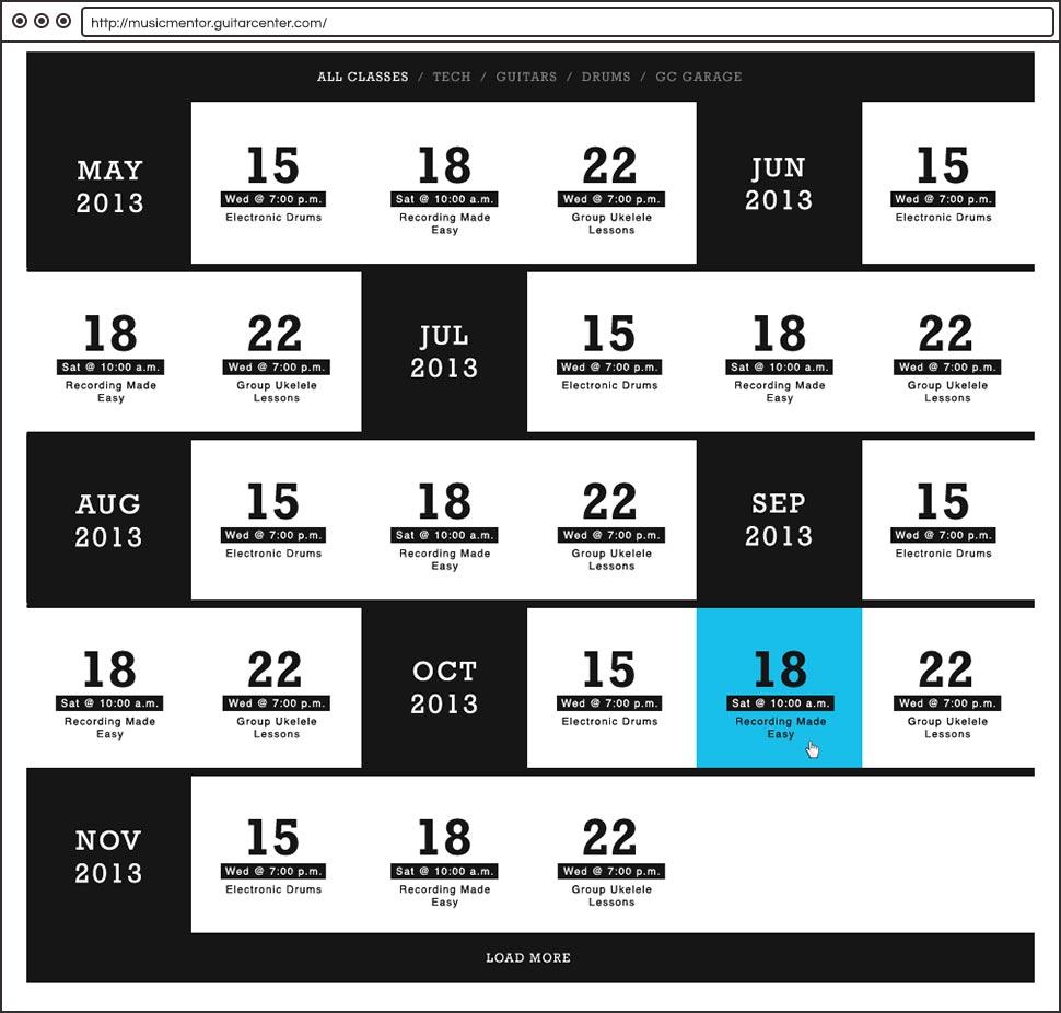 Guitar Center Music Mentor Schedule
